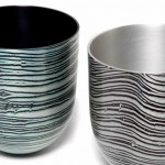 2 Spun Mokume Gane Bowls made from 5 layers of silver and gilding metal Ht 7cm Dia 5.8cm