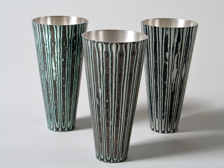3 Spun Mokume Gane Beakers made from combinations of silver copper and gilding metal. Ht10cm Dia 5cm.