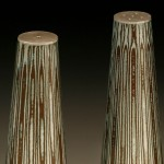 Fabricated Mokume Gane Salt and Pepper Pots made from 5 layers of silver and copper. Ht 10cm Dia 3.5cm