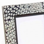Fabricated silver Photo Frame with a Mokume Gane face made from 5 layers of silver and gilding metal Ht 11cm Width 8cm