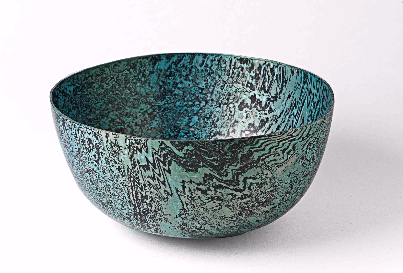 Hand raised Mokume Gane Bowl made from 128 layers of silver and gilding metal Ht 8.5cm Dia 17.5cm
