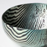 Hand raised Mokume Gane Bowl made from 48 layers of silver and gilding metal Ht 3.8cm Dia 8.6cm.