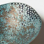Hand raised Mokume Gane Dish made from 7 layers of silver copper and gilding metal. Ht 3.5cm Dia 11.5cm