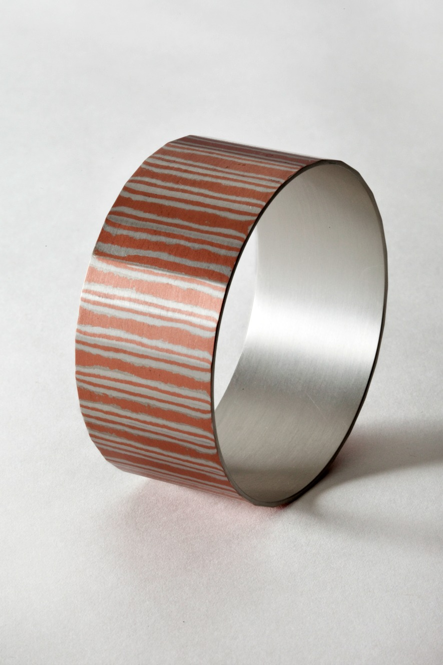 Mokume Gane Bangle 2 made from silver and copper