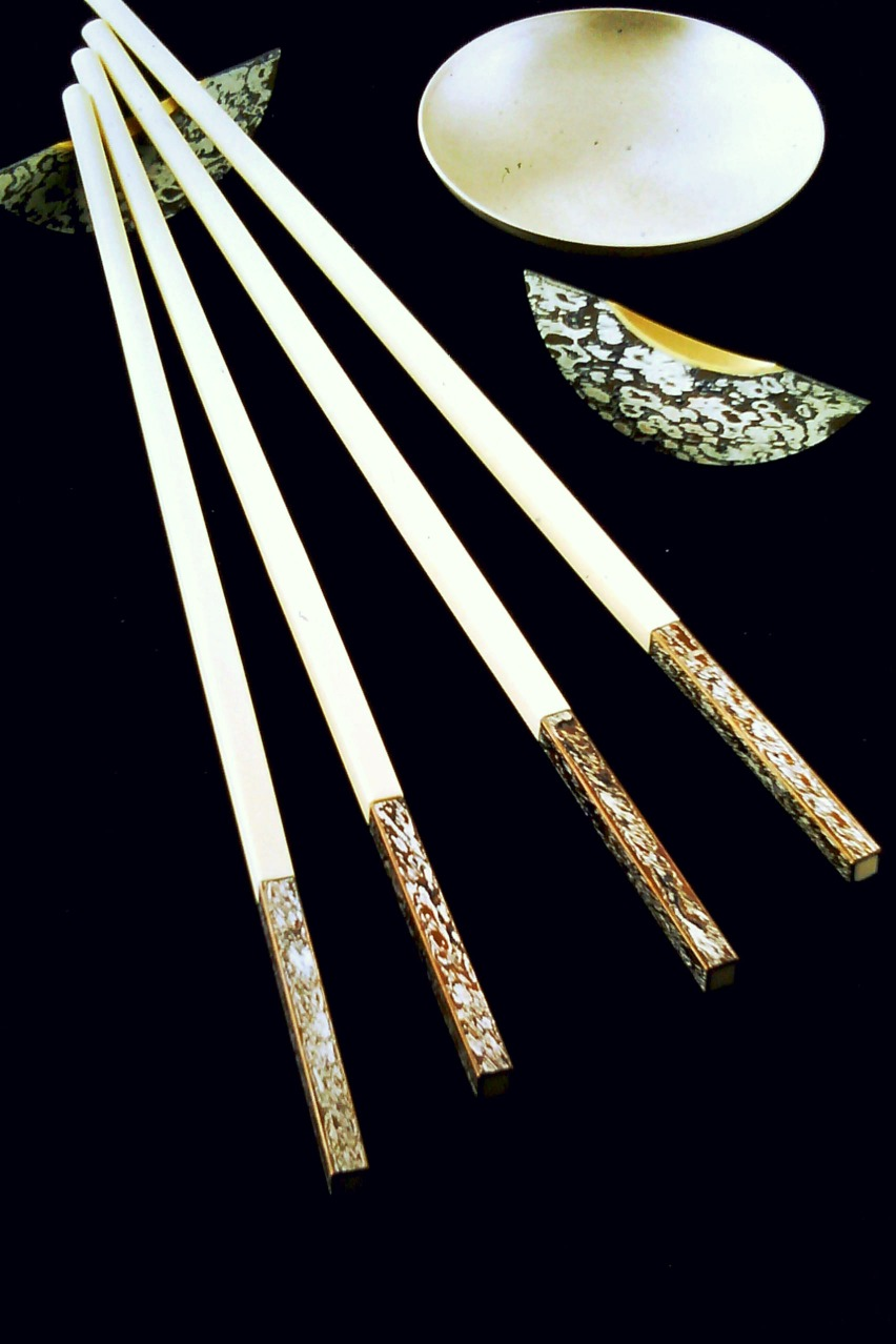 Mokume Gane Chopstick Rests made from 7 layers of silver copper and gilding metal with 9ct gold insert, chopsticks with Mokume Gane detail and silver bowl