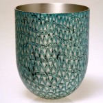Spun Mokume Gane Beaker made from 5 layers of silver and gilding metal. Ht 7cm Dia 5.8cm