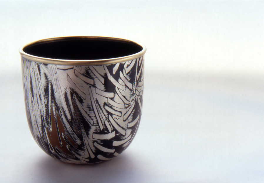 Spun Mokume Gane Bowl made from 7 layers of silver, copper and gilding metal with 9ct gold rim. Ht 6cm, Dia 6cm