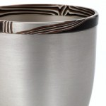 Spun silver Vase with a Mokume Gane rim made from 7 layers of silver copper and gilding metal. Ht 8.8cm Dia 7.4cm