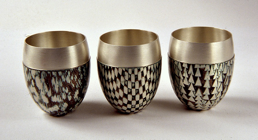 Three spun Mokume Gane Beakers made from silver, copper and gilding metal. Ht 5.5cm, Dia 4cm