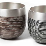 2 Spun Mokume Gane Beakers made from a combination of silver copper and gilding metal. Ht 6.6cm Dia 6.4cm