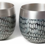 2 Spun Mokume Gane Beakers made from a combination of silver copper and gilding metal. Ht 6.6cm Dia 6.4cm (2)