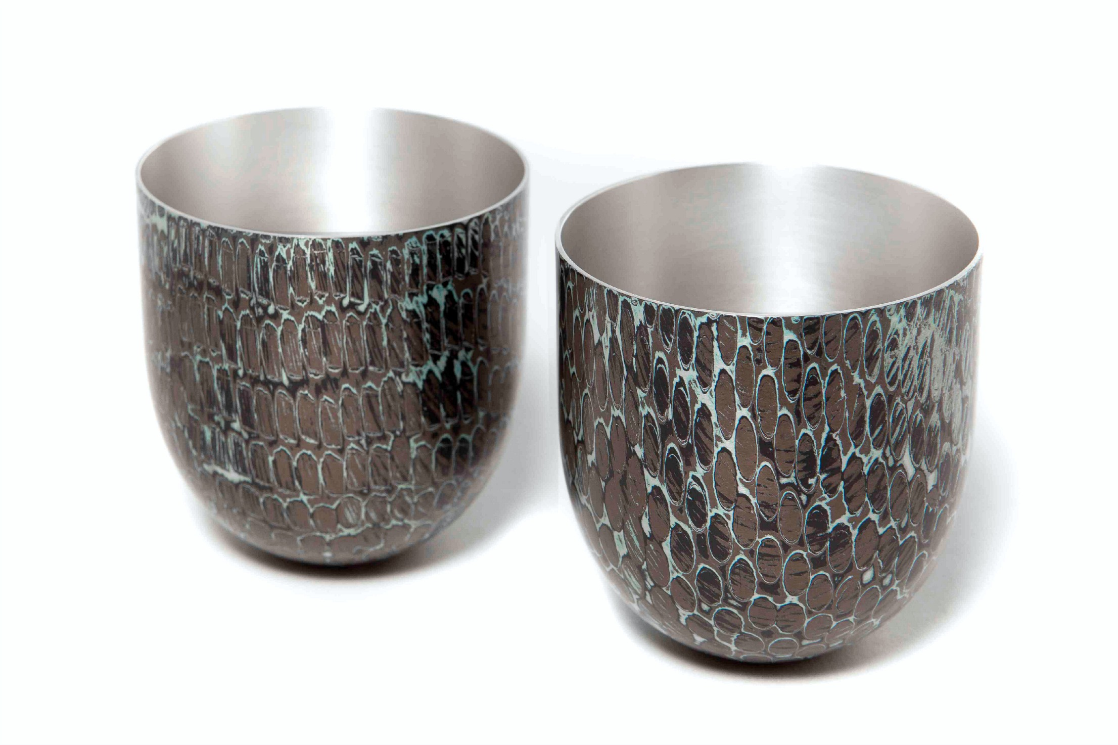 2 Spun Mokume Gane Bowls made from 7 layers of silver copper and gilding metal Ht 6.5cm Dia 5.8cm