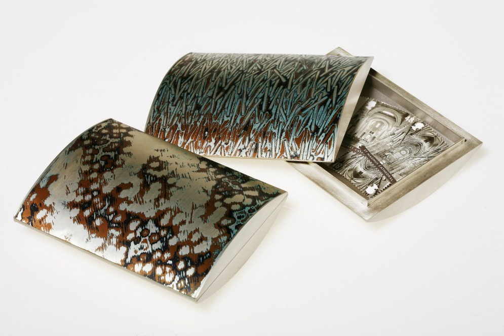 2 fabricated Mokume Gane Boxes made from 7 layers of silver copper and gilding metal. Ht 2.2cm x 6.5cm x 9cm