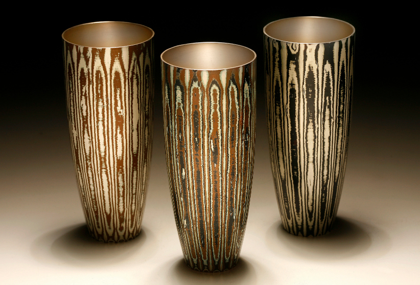 3 Spun Mokume Gane Beakers made from combinations of silver copper and gilding metal. Ht 13.2 Dia 5