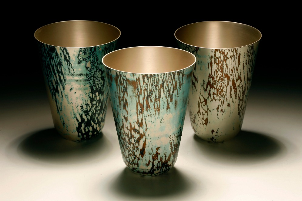 3 Spun Mokume Gane Vases made from combinations of silver copper and gilding metal. Ht15cm Dia 11.8cm