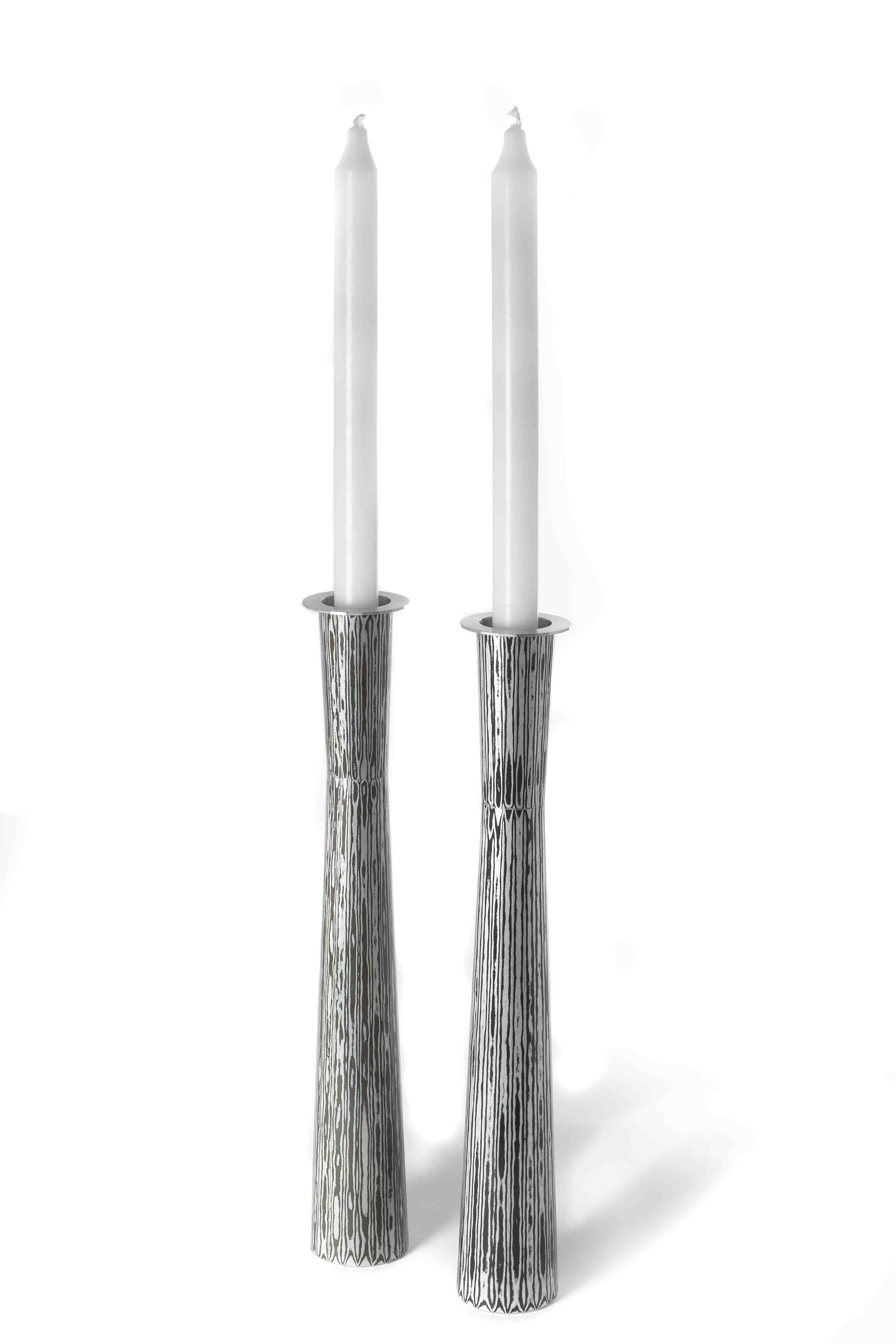 Fabricated Mokume Gane Vase : Candle holder made from a combination of silver cooper and gilding metal. Ht 34cm Dia 5.2cm