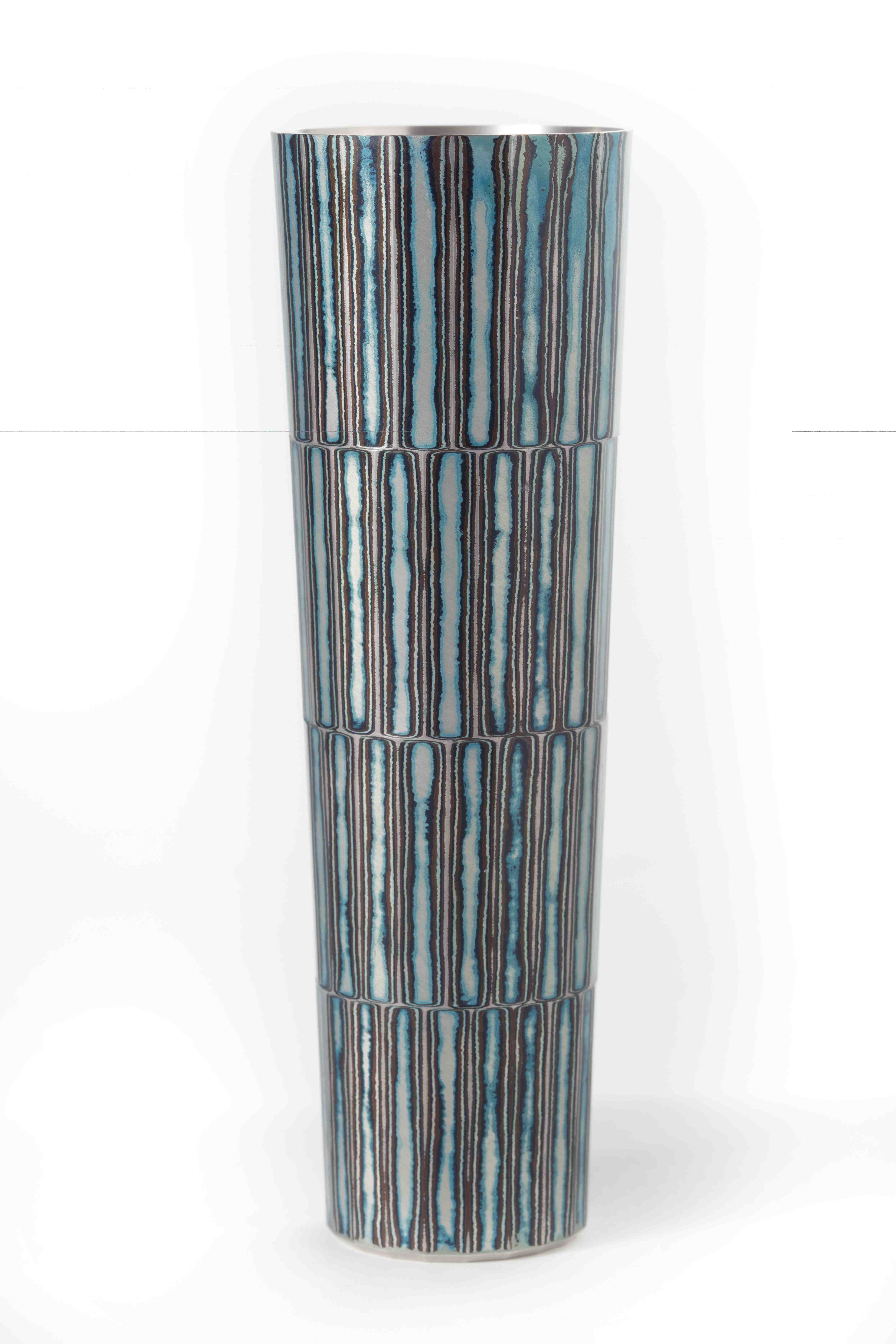 Fabricated Mokume Gane Vase made from 7 layers of silver copper and gilding metal Ht 15cm Dia 4.8cm