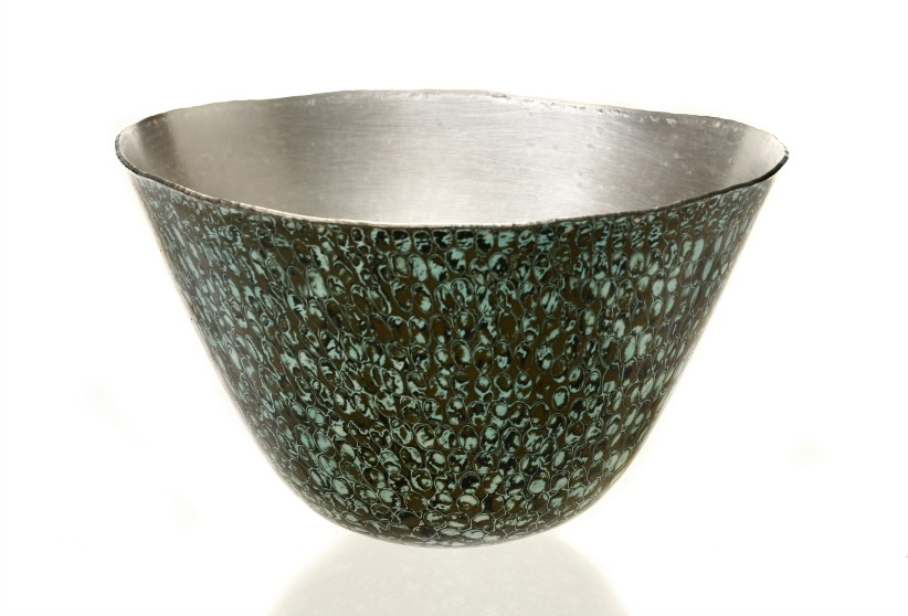 Hand raised Mokume Gane Bowl made from 5 layers of copper silver and gilding metal. Ht12cm Dia19.6cm