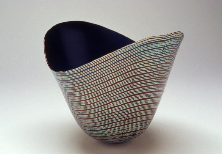 Hand raised Mokume Gane Bowl made from 6 layers of copper, gilding metal and silver. Ht 12cm, Dia 15cm