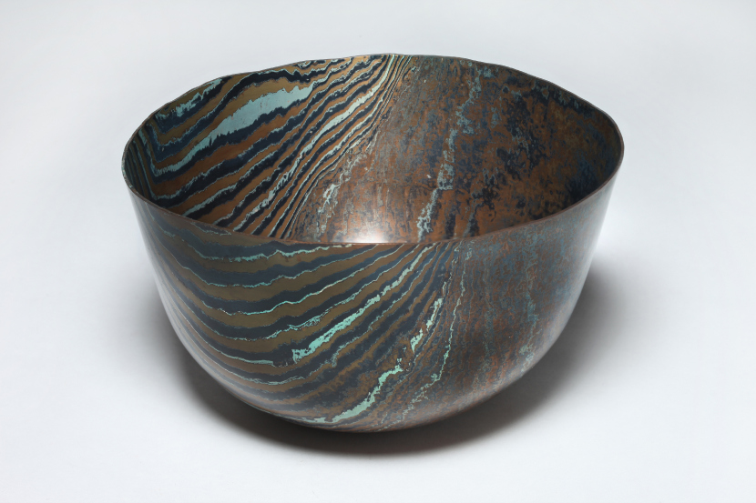 Hand raised Mokume Gane Bowl made from 64 layers of copper and gilding metal. Ht 11.5cm, Dia 20cm