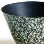Hand raised Mokume Gane Bowl made from6 layers of copper gilding metal and silver Ht 8.5 Dia 13.7cm
