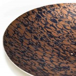 Hand raised Mokume Gane Dish made from 4 layers of copper and gilding metal with a silver backing sheet. Ht 2.5cm Dia 15.5cm