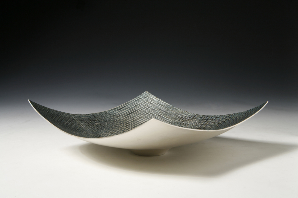 Hand raised Mokume Gane Dish made from 5 layers of silver and gilding metal. Ht cm Dia19cm