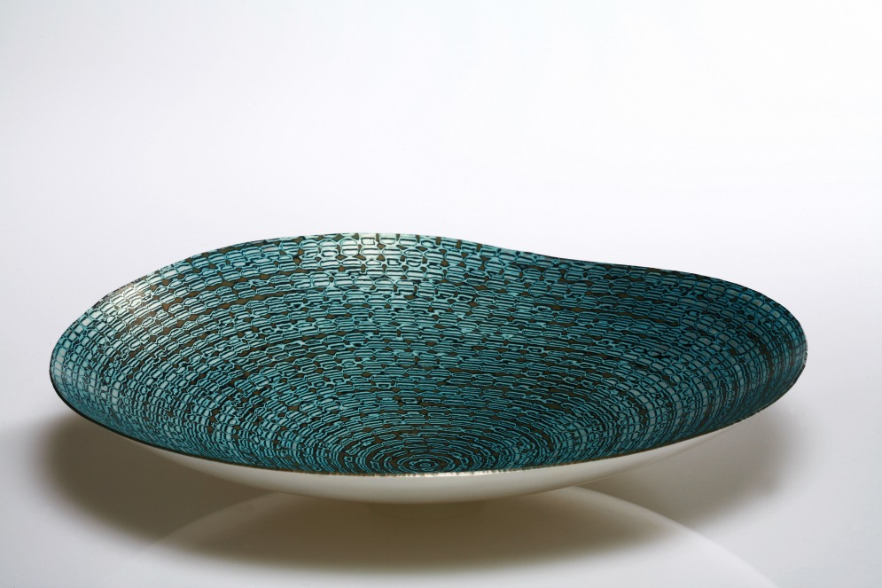 Hand raised Mokume Gane Dish made from 6 layers of copper silver and gilding metal. Ht 5cm Dia 26cm