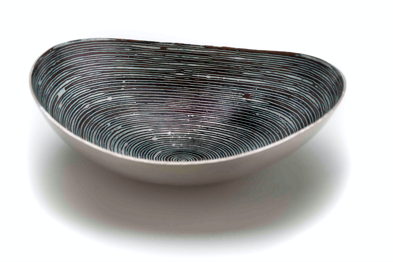 Hand raised Mokume Gane Dish made from 7 layers of silver copper and gilding metal. Ht 3cm Dia 10.5cm