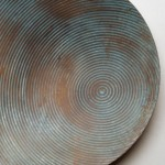 Hand raised Mokume Gane Dish made from copper silver and gilding metal. Ht 2.5cm Dia16cm