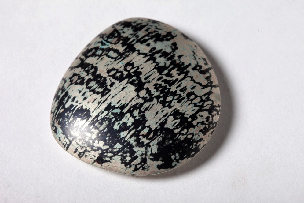 Mokume Gane Brooch made from 5 layers of silver and copper