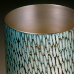 Spun Mokume Gane Beaker made from 7 layers of silver copper and gilding metal. Ht 9