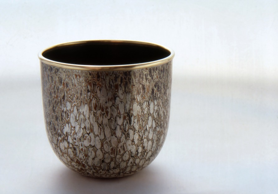 Spun Mokume Gane Bowl from 8 layers of copper, gilding metal and silver with 9ct gold rim. Ht 6cm, Dia 6cm
