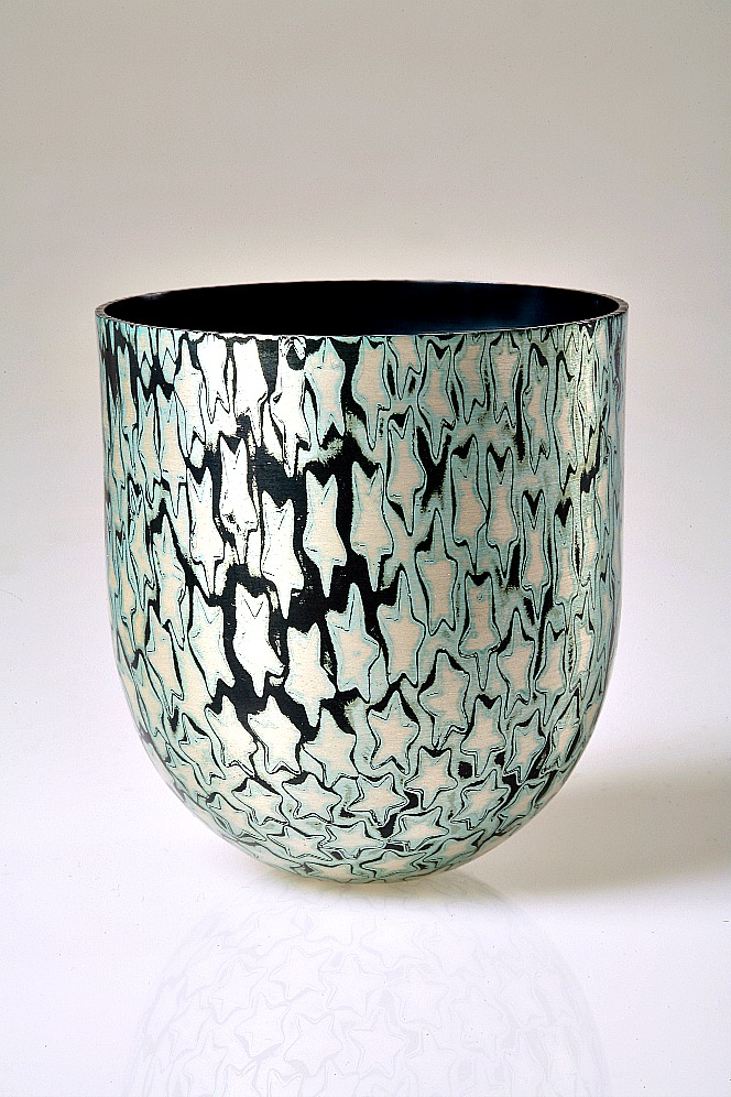 Spun Mokume Gane Bowl made from 5 layers of guilding metal and silver. Ht 6cm Dia 5.8cm