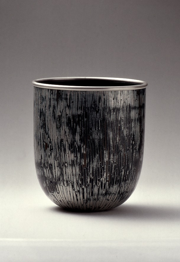 Spun Mokume Gane Bowl made from 6 layers of copper, gilding metal and silver. Ht 13cm, Dia 10cm