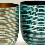 Spun Mokume Gane Bowls made from combinations of copper silver and guilding metal. Ht 6cm Dia 5.8cm