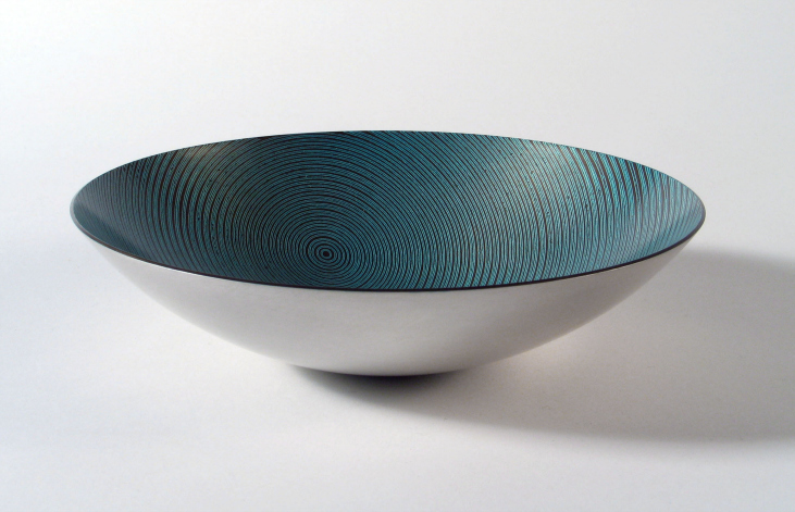 Spun Mokume Gane Dish made from 7 layers of copper silver and gilding metal. Ht 14cm Dia 3.6cm
