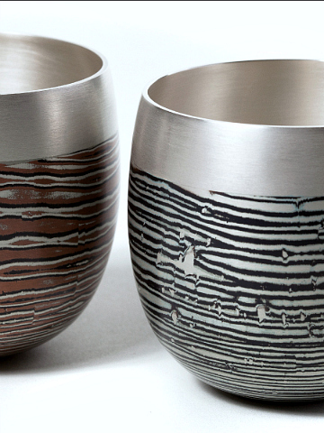 Mokume Gane Beakers with Silver Rims